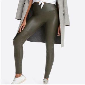 Spanx Leather Deep Olive Legging Medium NWOT